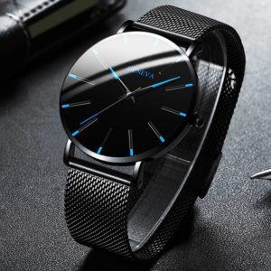 GENENA Luxury Men's Watch Fashion Mens Watches Brand Blue Mesh Belt Business Watch Men Quartz Wristwatch Clock Relogio Masculino