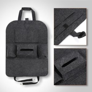 1pc Universal Car Back Seat Storage Bag Organizer Trunk Elastic Felt Storage Bag 6 Pockets Organizer Hanging Car Accessories